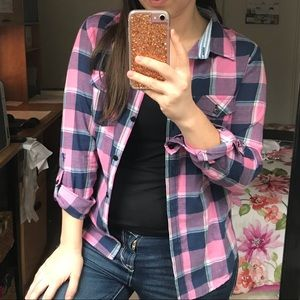 Tops - Casual Pink & Blue Plaid Shirt, Size S